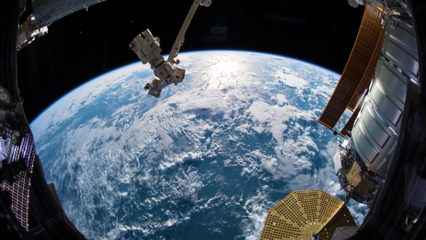 Time lapse video from International Space Station ISS showing cloud covered waters of the Pacific Ocean and heads toward the western coast of North America. Created from images by Nasa Public Domain. | Shutterstock HD Video #1037231588