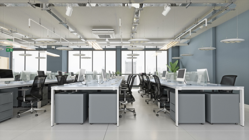 Modern Open Plan Office - 3d Rendering