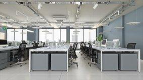Modern Open Plan Office - 3d Rendering
