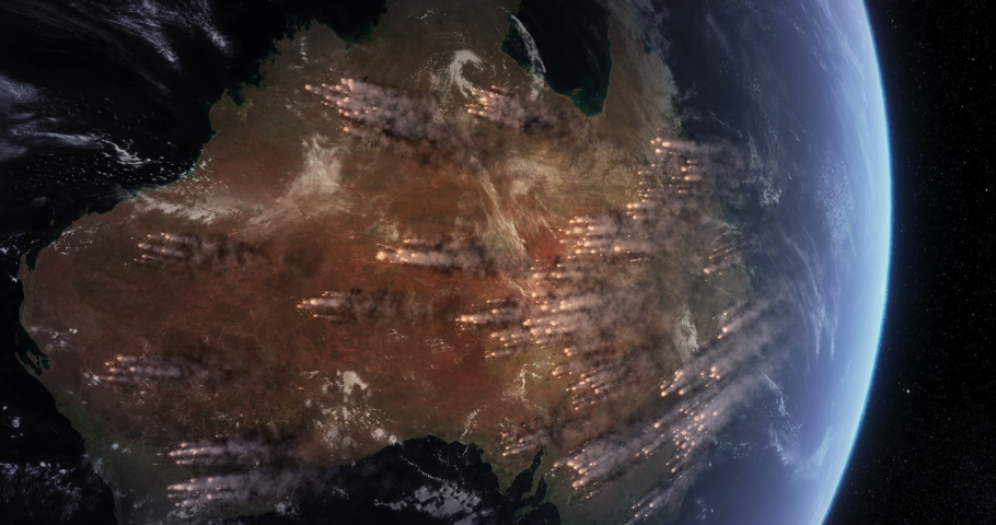 Bushfires in Australia. Satellite View Shows Many of Wildfires Burning in the Australian Outback and Rainforests. Smoke Covering Much of the Continent. | Shutterstock HD Video #1037261564