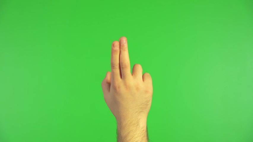 Male hand is making gestures like clicking and touching to a smart screen on green screen. 4K resolution. | Shutterstock HD Video #1037265431
