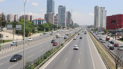 City car traffic at the modern city highway