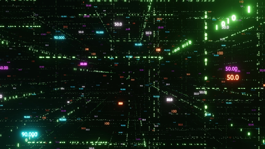 Digital matrix. Big data. The camera flies through digital binary space with different counters. The counters are always facing the camera. Endless loop 4K | Shutterstock HD Video #1037271605