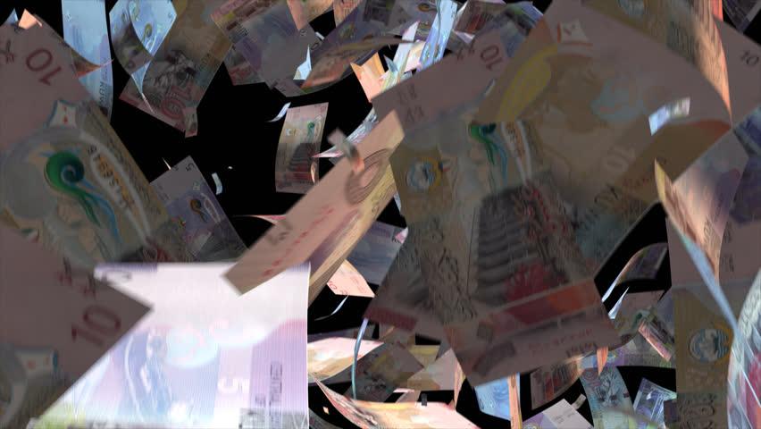 Falling Kuwait money banknotes Video Effect simulates Falling Mixed Kuwait money banknotes with alpha channel (transparent background) in 4k resolution  | Shutterstock HD Video #10372856
