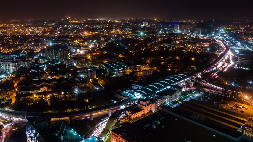 High angle view on Sandal Soap Factory metro station and Yeswanthpur industrial park time lapse at night