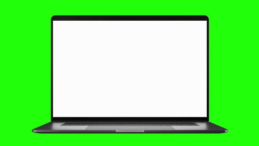 Laptop blank screen opening on green screen background   Shutterstock HD Video #1037291273