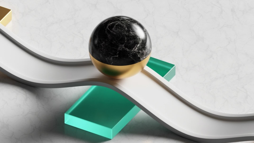 Loop animation of 3d black marble ball rolling on white wavy road. Computer generated seamless motion design of simple geometric shapes. Repeating movement. Live image, modern animated poster.