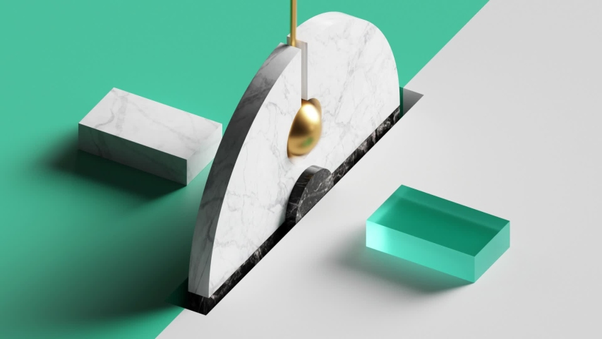 Loop animation of eternal pendulum swinging, 3d gold ball and rotating wheel. Repeated beat. Computer generated seamless motion design of simple geometric shapes. Live image, modern animated poster.