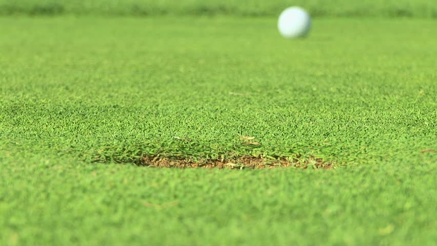 Putting green with golf ball