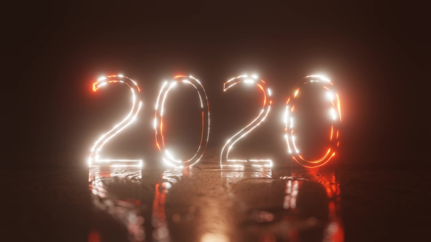 Happy New year 2020. The inscription 2020 is lit with bright neon light and shimmers. 4K background.