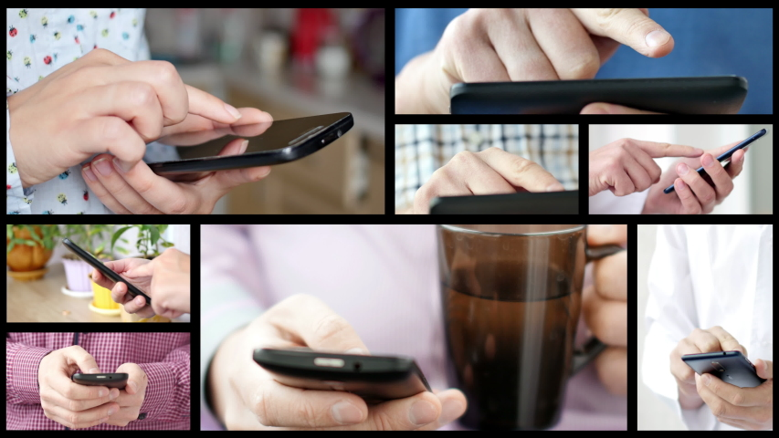 Collage of different people hands texting or typing on theirs smartphones. Split screen montage wall. Concept of using cell phone, smart phone, modern technology and communication | Shutterstock HD Video #1037330717