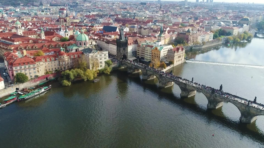 Panoramic view from above on the Prague Castle, aerial of the city, view from above on the cityscape of Prague, flight over the city, Vltava River, Charles Bridge, Prague | Shutterstock HD Video #1037340764