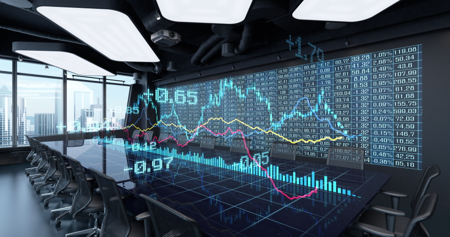 Animated Charts Diagrams of Financial Statistics report Growing on Table in Office Interior. Exchange trading Gambling concept 4K video 3D rendering. 10 sec intro and 10 sec loop. Royalty-Free Stock Footage #1037348234