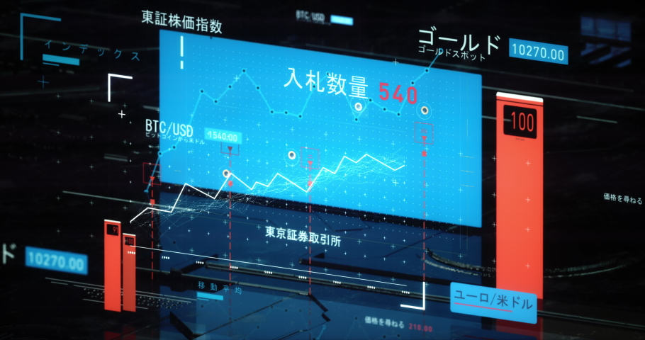 Fintech of Japanese stock market. Dynamic charts of stock exchange. Japanese translation: S&P/TSX, Index, Gold Gold Spot, BTC/USD Bitcoin to us dollar, Price/Earnings Ratio, EUR/USD Ask Price Royalty-Free Stock Footage #1037355281