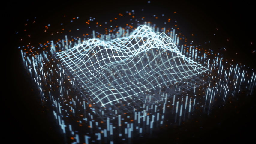 Weveform on grid surface. Digital data analyzer. Abstract futuristic technology design. Seamless loop 3D render animation with DOF and bokeh lights Royalty-Free Stock Footage #1037359556