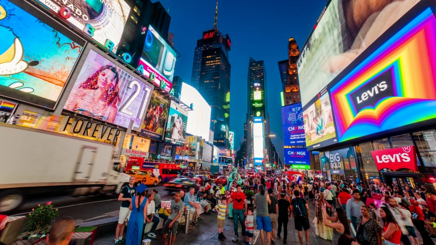 Times Square New York City Night Timelapse. High dynamic range 4K super fine timelapse by raw photo files. Crazy busy people, traffic and LED walls of advertisements.  New York, USA.
