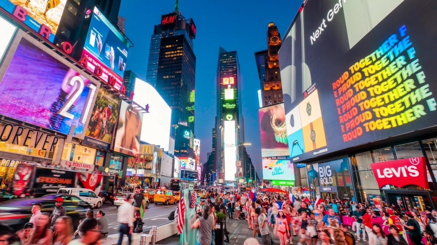 Times Square New York City Night Timelapse. High dynamic range 4K super fine timelapse by raw photo files. Crazy busy people, traffic and LED walls of advertisements.  New York, USA. July 9, 2019