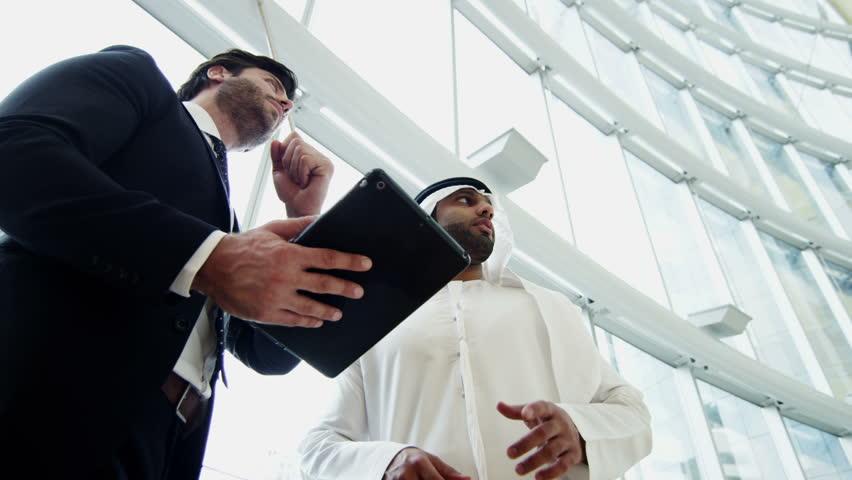 Western Arab international business male travel conference tablet technology | Shutterstock HD Video #10373675