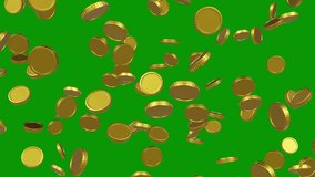 3D animated coins. 4K three clips. 2 explosion and 1 rain clips. For games, apps, commercials, and marketing presentations. With greenscreen background.