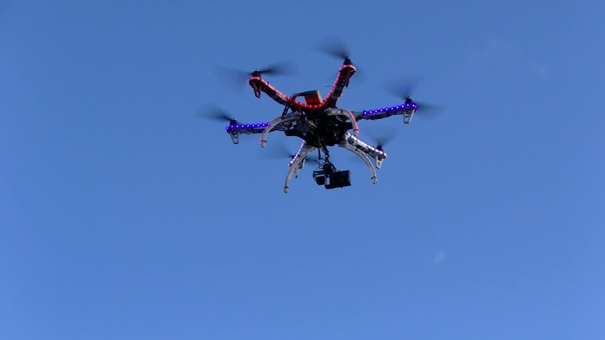 Custom aerial camera drone with camera gimbal | Shutterstock HD Video #1037383736