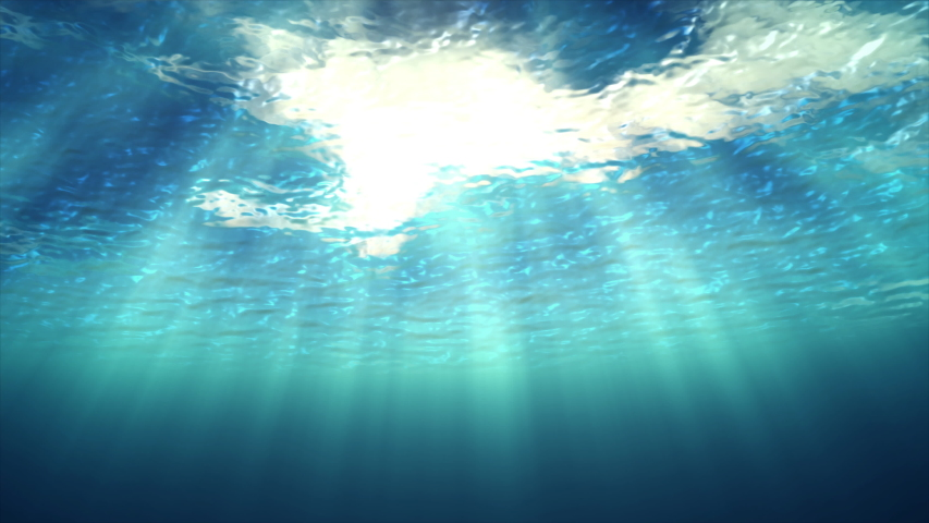 3D animation underwater of ocean waving, Beautiful sun shines through underwater #1037388461