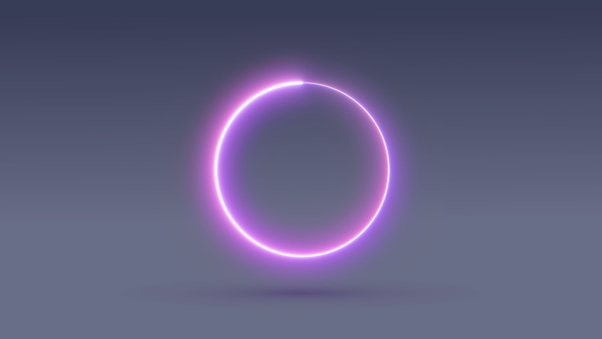 Interface, boot menu, progress. The round frame glows. Rotation of the figure. Shadow. 4k #1037399837