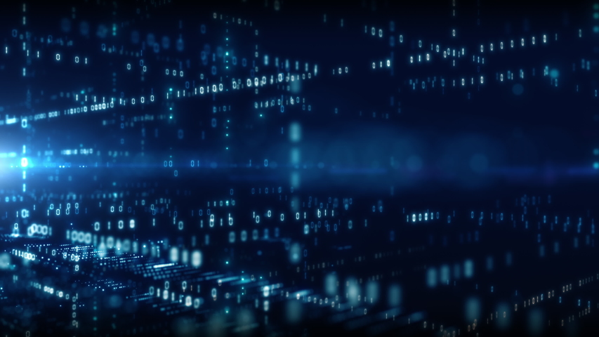 4K Digital cyberspace with particles and Digital data network connections concept. | Shutterstock HD Video #1037407418