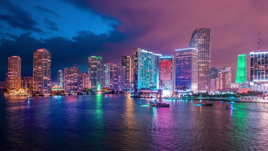 Amazing Miami downtown timelapse hyperlapse. Beautiful aerial shot of Miami city. Best Miami Aerial shot and top view of Miami downtown skyline. Drone flying over a city night lights in 4K