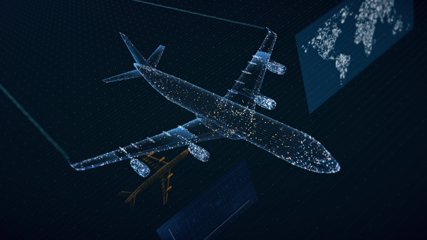 Beautiful 3D concept of airliner flying, showing air traffic growth data. 4K 30fps. | Shutterstock HD Video #1037422844