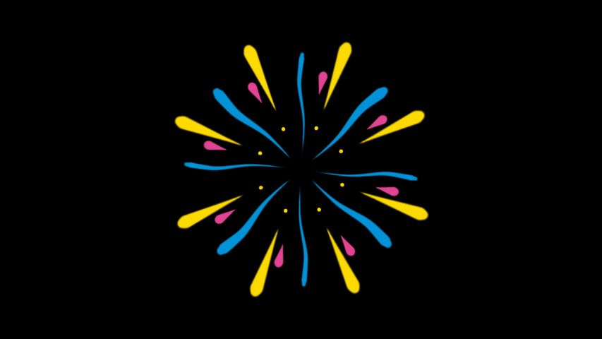 2D Abstract. cartoon animation. Firework Colorful. new year, motion graphics