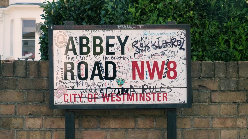 London / United Kingdom (UK) - 04 21 2019: The Abbey Road street sign in London, UK
