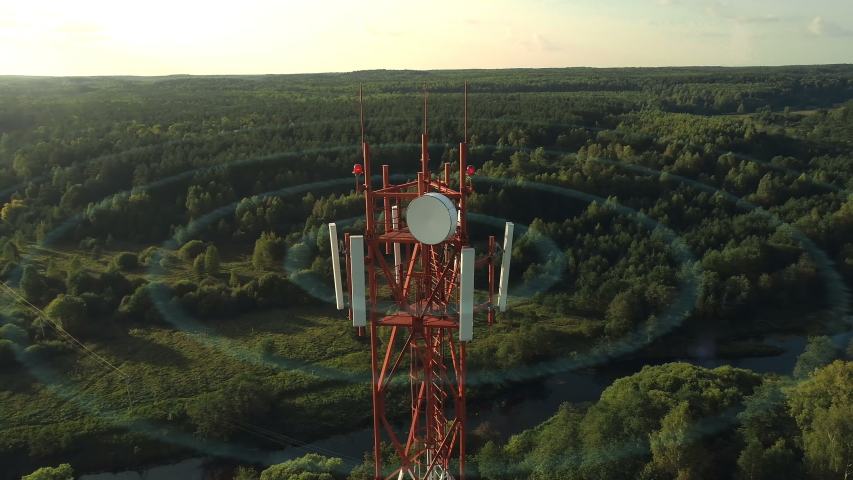 Aerial view and computer animation of a 5g cellular networks wireless waves. Data transmission in networks 5g is different from 4g lte more speed, reliability and coverage area, connect more devices. Royalty-Free Stock Footage #1037450183