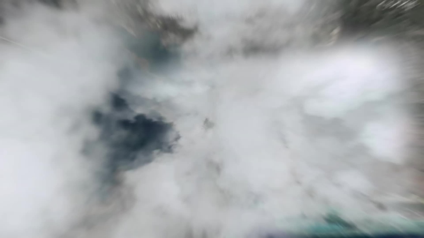 Zoom into the clouds to the world hard. 3d mega zoom out from city downtown to earth in space inverse. Flight over clouds. Royalty-Free Stock Footage #1037450372