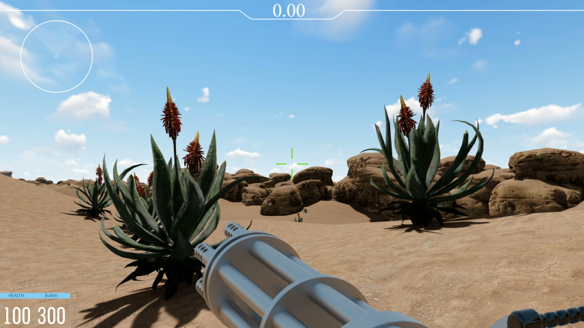 Shooter video game POV realistic 3d footage. Armed futuristic combat first perspective view. Player interface with shooting target. Lonely fake sci fi soldier in desert battle field animation | Shutterstock HD Video #1037454812