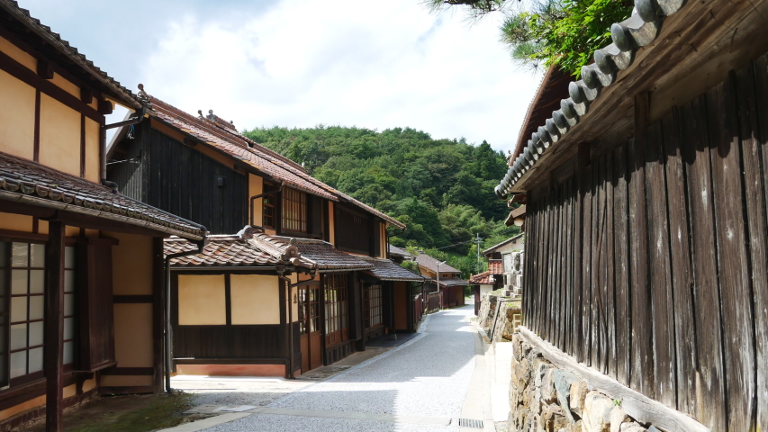 street of old town in countryside of Okayama prefecture, Japan. without sounds