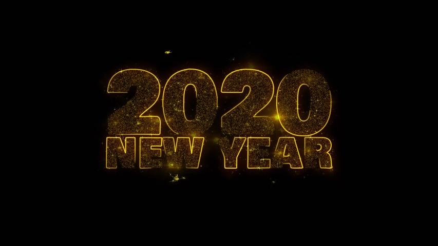 2020 New Year wish Text Sparks Glitter Particles on Black Background. Greeting card, Wishes, Celebration, Party, Invitation, Gift, Event, Message, Holiday, Festival 4K Loop Animation. | Shutterstock HD Video #1037460932