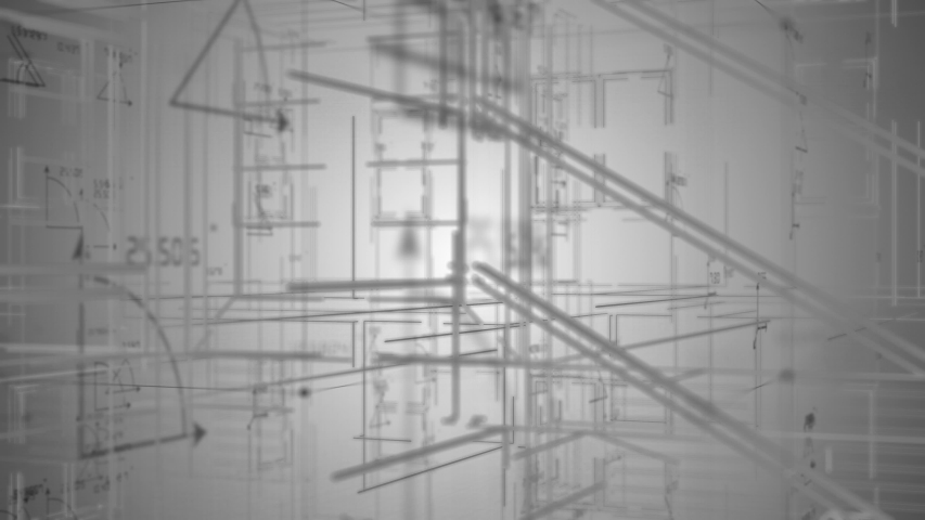 Home structure sketch house blueprint Architecture design - 3d Rendering Royalty-Free Stock Footage #1037463776