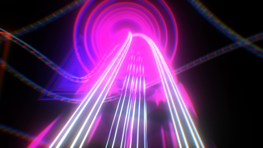 Riding on Roller-Coaster with Neon Lights Extremely Fast Seamless. Looped 3d Animation of Abstract Roller Coaster Attraction in Bright Glowing Colors Curvy Railway. 4k Ultra HD 3840x2160. Royalty-Free Stock Footage #1037490320
