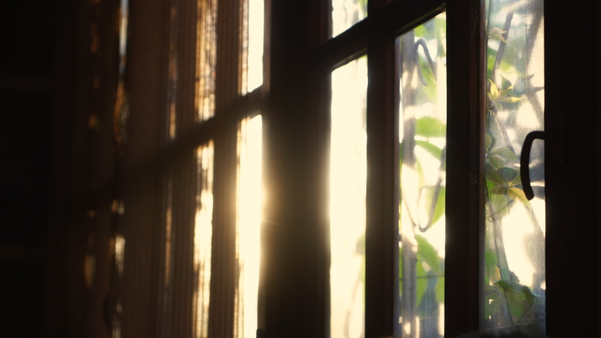 Rays of setting sun through the roller blinds on window. | Shutterstock HD Video #1037492978