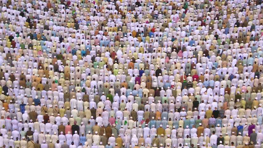 Muslim pilgrims from all over the world gathered to perform Umrah or Hajj.  Haram Mosque in Mecca. stock video Arabia, East Jerusalem, Persian Gulf Countries, Saudi Arabia. | Shutterstock HD Video #1037502644