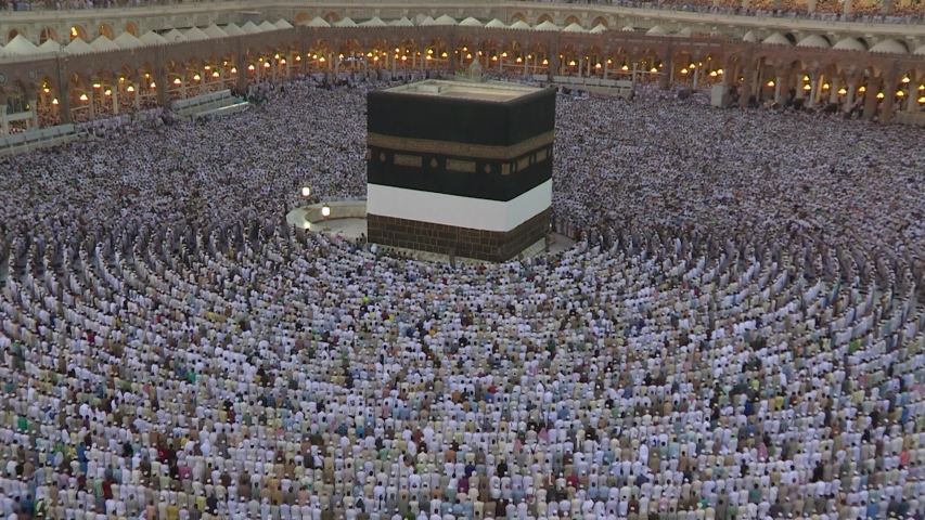Muslim pilgrims from all over the world gathered to perform Umrah or Hajj.  Haram Mosque in Mecca. stock video Arabia, East Jerusalem, Persian Gulf Countries, Saudi Arabia.