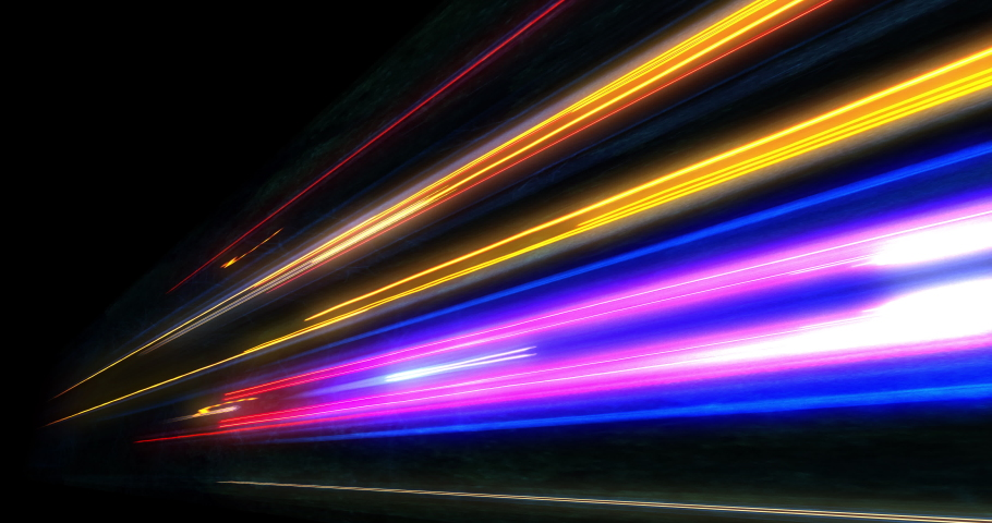 Super fast car night traffic lights. City life, urban scene, car light trails, transport and traffic concept. Long exposure, Travel concept, Science hyperspeed teleport movement, warp speed. #1037502755
