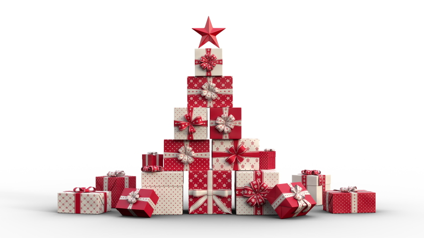 Zoom out of Christmas gift boxes popping up and forming a stack of presents in an abstract christmas tree shape with star on top. Red version. Animated Christmas Greeting Card. White background.