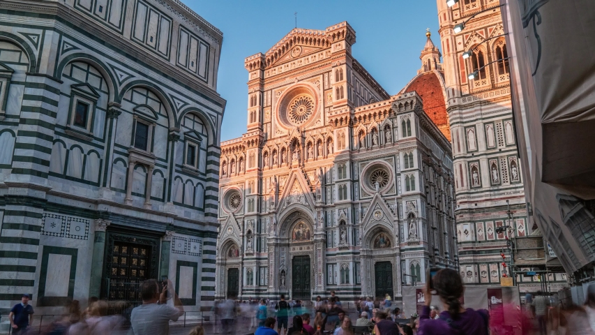 Florence: Tourists in in front of Cathedral of Saint Mary of the Flower Cattedrale di Santa Maria del Fiore . Is the Cathedral of Florence, Italy. 4K UHD Video. | Shutterstock HD Video #1037533865