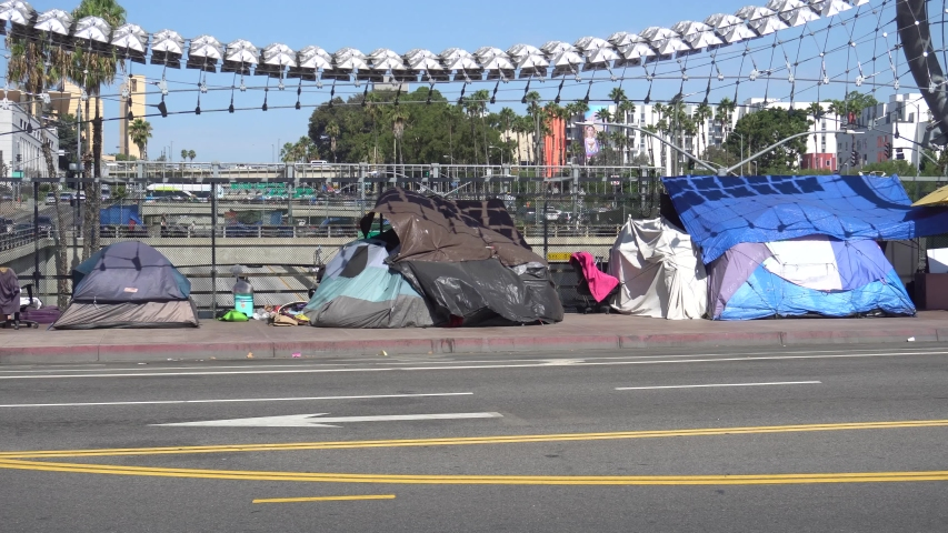 Camping Tents of Homeless Living in Downtown Los Angeles, on 5 September 2019