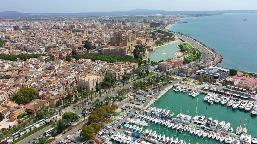 Aerial drone video footage of Marina Palma de Mallorca   Shutterstock HD Video #1037537261