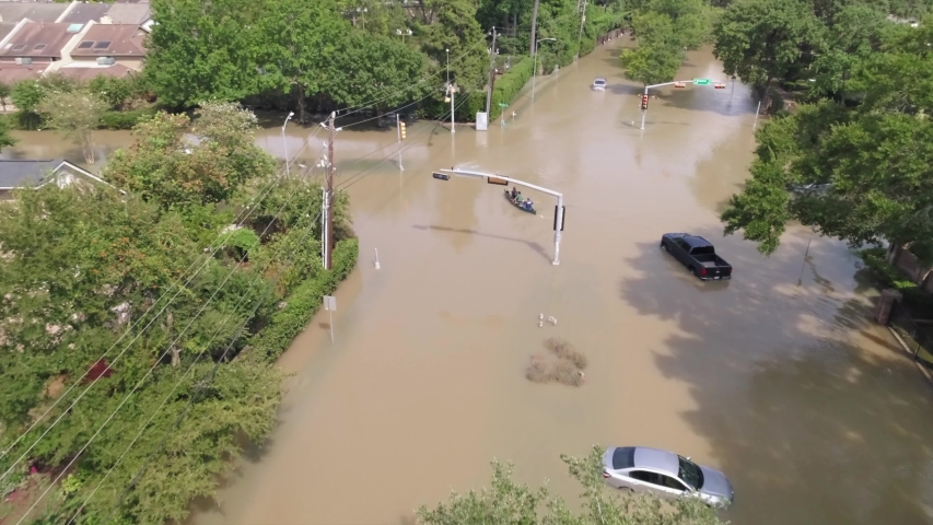 Drone view of flooded neighborhood after Hurricane Harvey