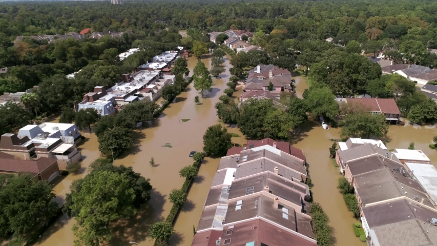 Drone view of flooded neighborhood in Houston aft er Hurricane Harvey