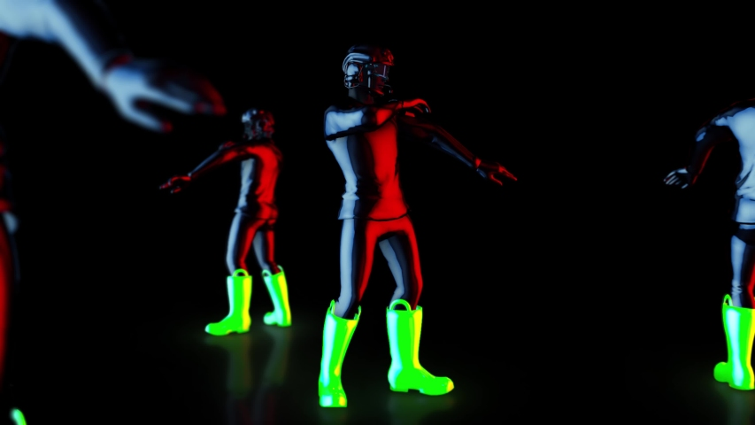 Male dance group performs in futuristic metallic neon costumes, 3D Rendering Animation, The camera moves around. | Shutterstock HD Video #1037545658
