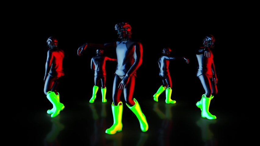 Male dance group performs in futuristic metallic neon costumes, 3D Rendering Animation. | Shutterstock HD Video #1037545673